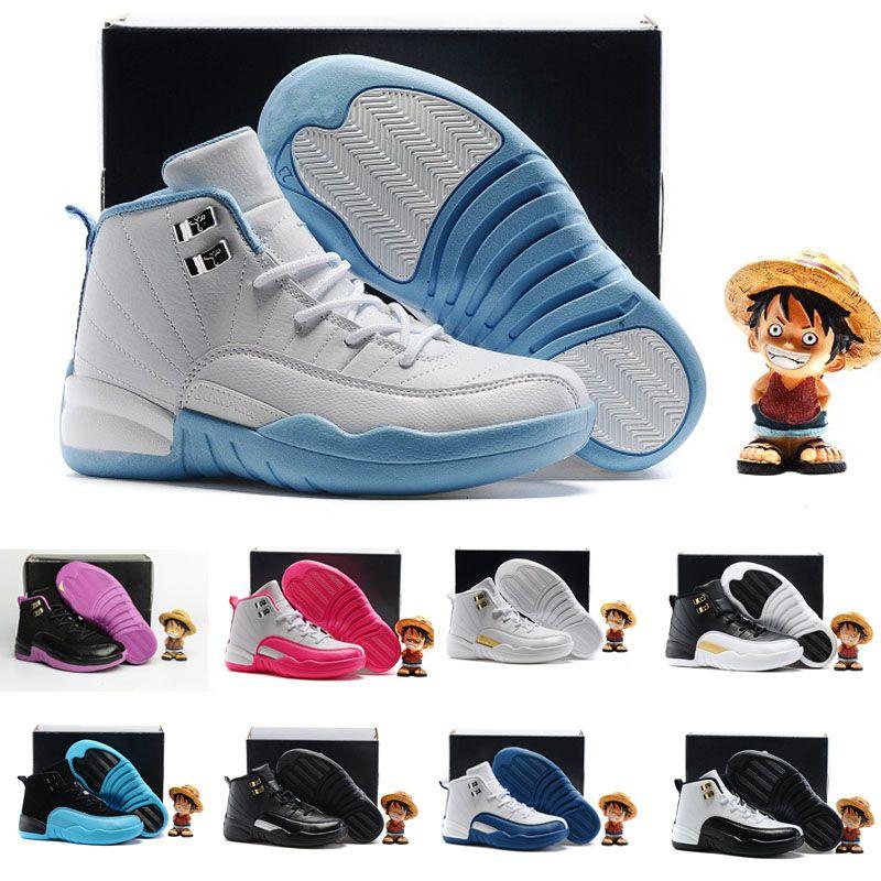 san francisco ed658 4d1d2 Acheter 2018 Nike Air Jordan 6 11 12 Retro Classic 12 S Bleu Bleu Enfants  Chaussures De Basket Ball Amortissement Originals 12 OVO Blanc Cuir  Chaussures De ...