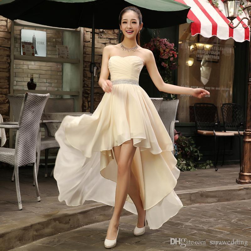 c086de43b954 Nuevo Vestido de dama de honor con cuentas de novia de talla alta Más  tamaño 2018 Vestido de fiesta de gasa Frente corto Largo trasero