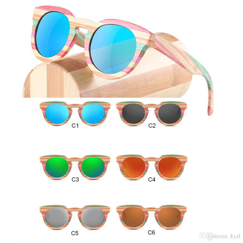 74fbc5ecce Round bamboo sunglasses colorfull rainbow wooden frame for women men with  case blue orange green brown coating polarized sunglass fashion