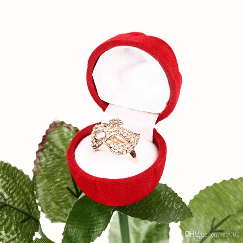 Rose Flower Shape Ring Box Love Valentines Day Ear Nail Organizer Resuable Mini Wedding Jewelry Box Red 2 7hy X