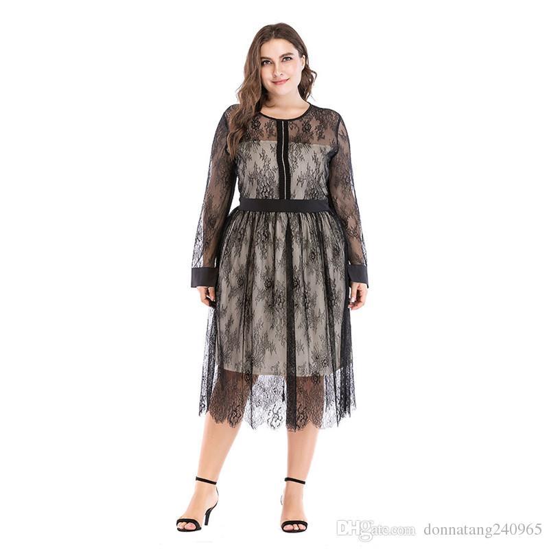 f9fec1d44 Compre 3XL 4XL 5XL Elegante Sexy Plus Size Mesh Semi Sheer Dresses Malla De  Encaje Largo Empalmado Vestido Negro De Manga Larga A  20.51 Del  Donnatang240965 ...