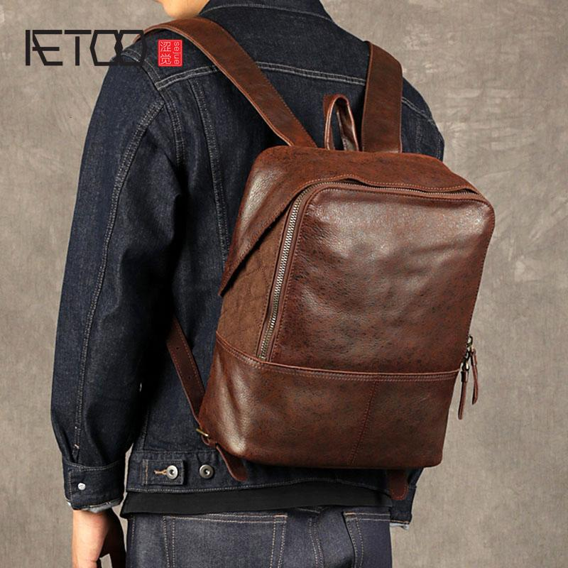 603f800fcf68 AETOO Leather Men S Shoulder Bag First Layer Leather Computer Bag Casual  Trend Travel Personality Flash Point Backpa Kids Backpacks Dakine Backpacks  From ...