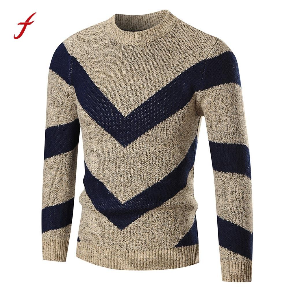 Sweater Men 2017 Fashion Sweater Pullover Male brand Mixed Color arrow striped Knitwear Sweaters Slim Fit Thin Men's