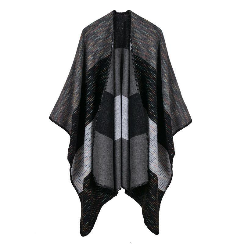 2018 marque femmes écharpe haute qualité plaid cachemire hiver ponchos et capes épais tricot chaud dame pashmina étoles