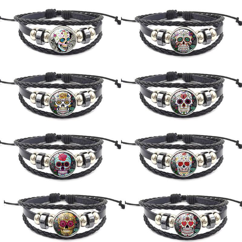 Zuckerschädel-Armband 18mm Ingwerkeks Knopf Chunk-Verpackungs-mehrschichtige Armband-Armband-Stulpe-Armband-Frauen arbeiten Schmucksachen Tropfen-Verschiffen