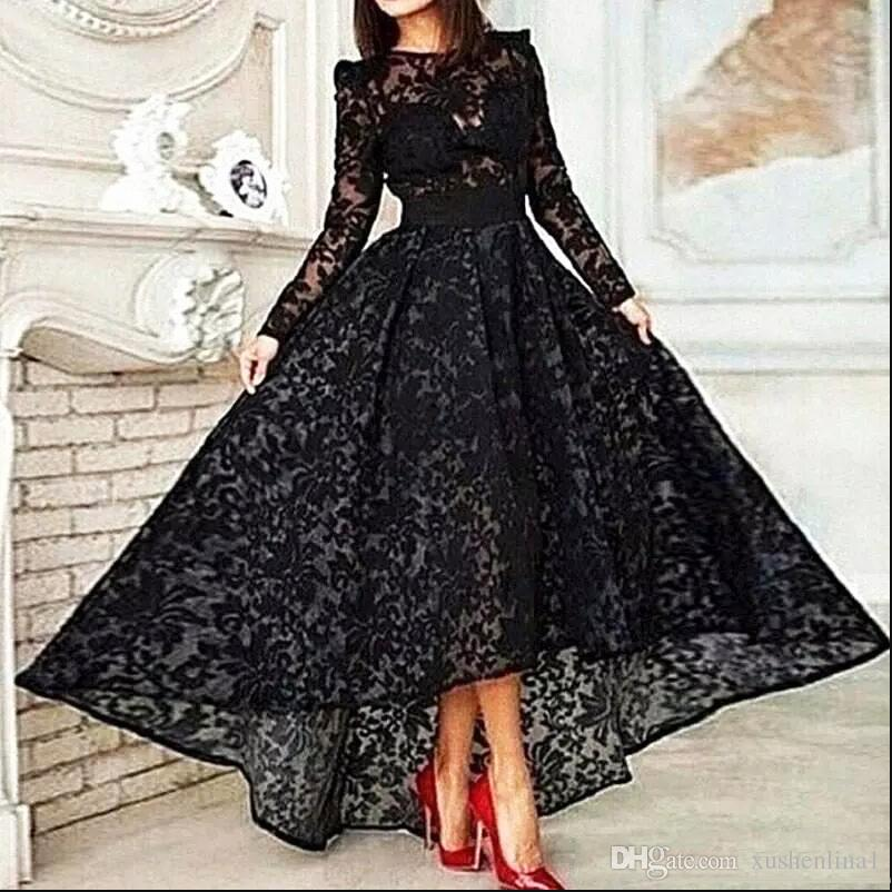 Black Lace Organza Puffy High-low Evening Dresses Pleated Long Sleeves Winter Autumn Prom Dress Formal Maxi Gowns Plus Size Custom Vestidos