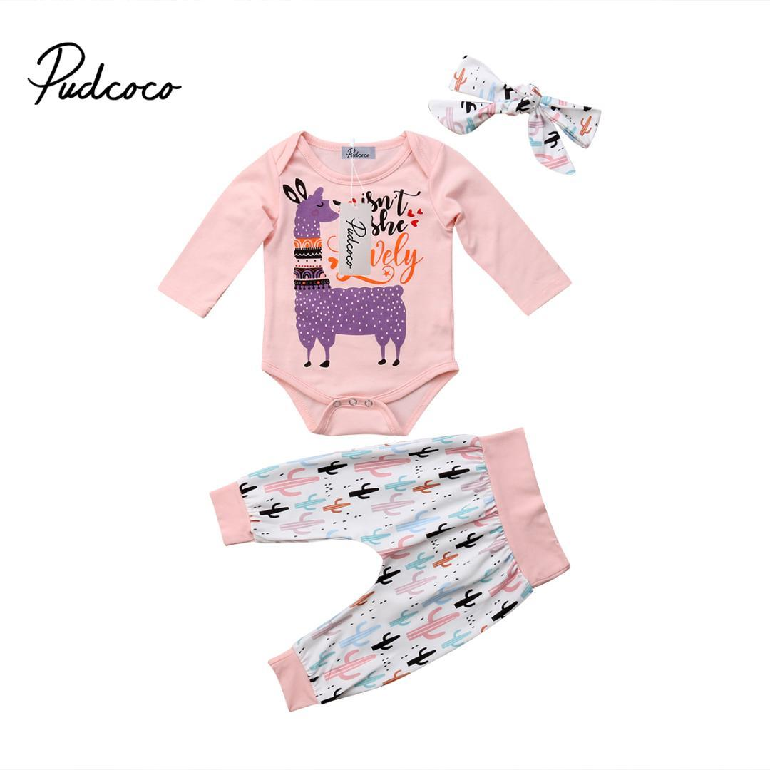 74669286944d 2019 Cute Newborn Baby Girl Boy Clothes Long Sleeve Romper Letter Jumpsuit  Toddler Girls Cactus Print Pant Headband Outfits Set 0 24M From Entent
