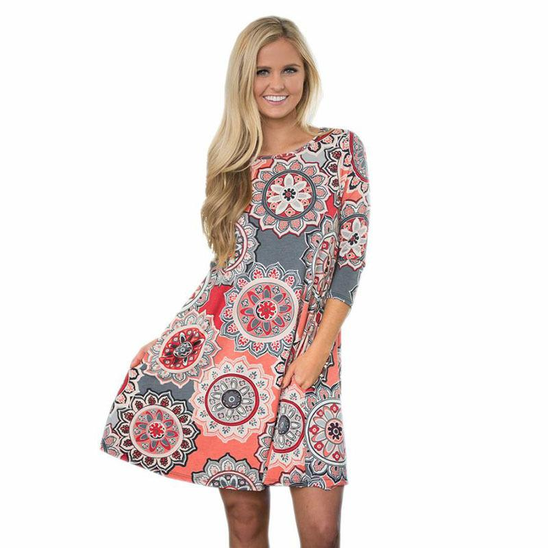 2b72f1a0f51d 2019 Midi Dress Women Print O Neck Mini Dress Tunic Mini Party ...