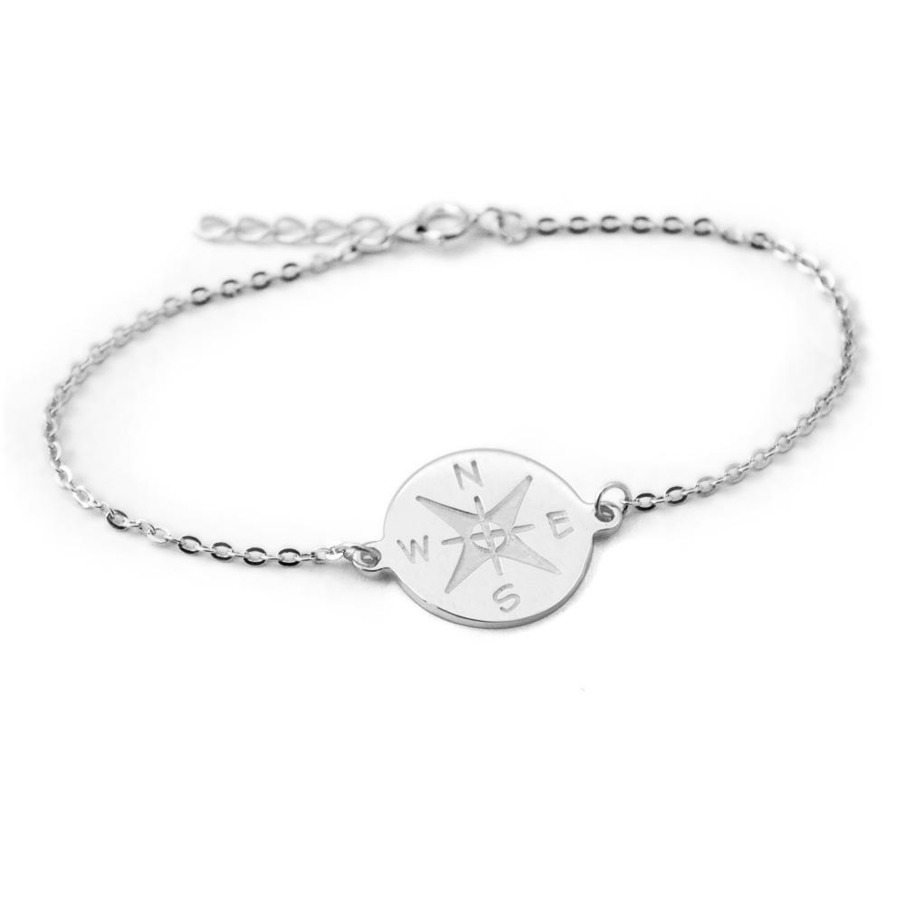 8aaedfc2a86c1 Personalized Compass Bracelet Friendship Bracelet, Custom Engraved Best  Friend Gift Graduation Gift Nautical Jewelry