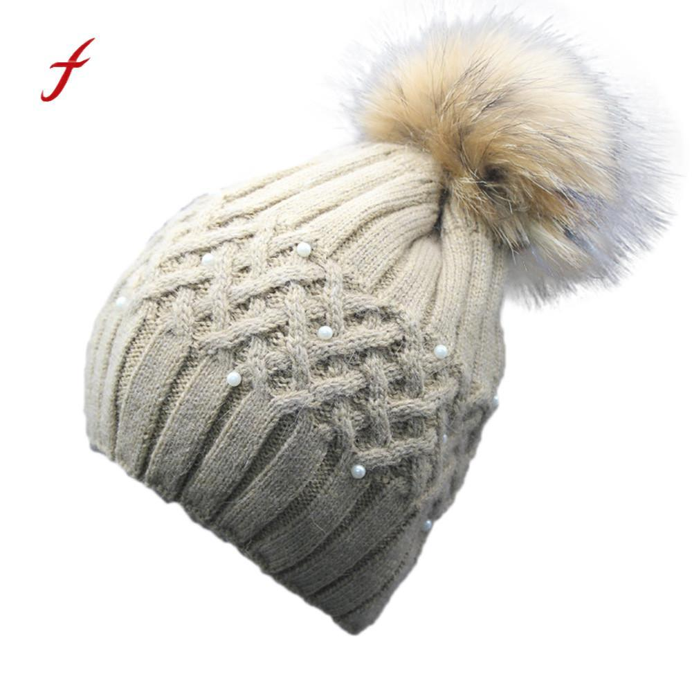 2018 New Fashion Women Winter Hat Cap Cotton Warm Hat Women Winter Pearl  Crochet Fur Wool Knit Beanie Raccoon Warm Cap Beach Hats Beanie Hats For  Men From ... e3c6967567b