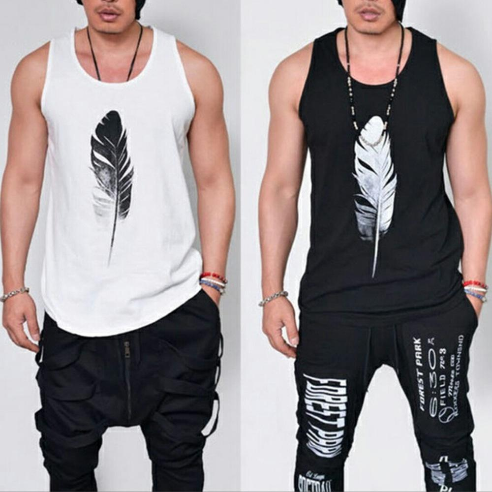 92707ff5a318 2019 2017 Summer Fashion Casual Loose Solid Feather Print Sleeveless Hip  Hop Men Tank Tops Male Cool Harajuku Sportwear White Black From  Eventswedding