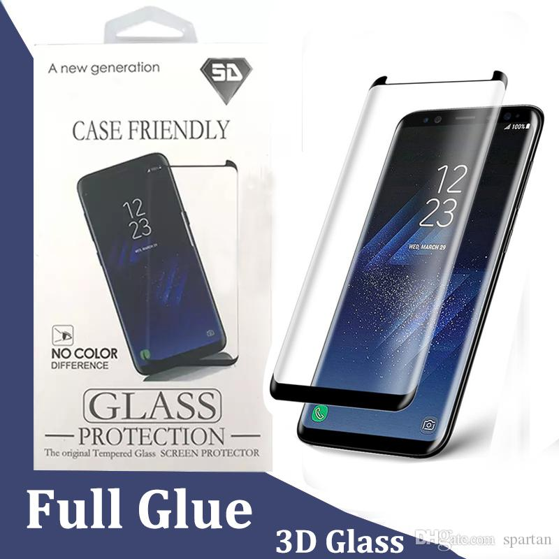 detailed pictures 9bf69 546c4 Full Adhesive Glue 5D Tempered Glass Case Friendly Curved Screen Protector  for Samsung S10 Plus S9 S8 Galaxy Note 8