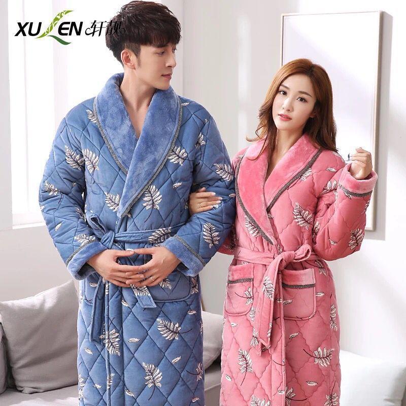 c0e1250006d652 Novo inverno flanela casal pijama espessada longo quente roupão de banho  lazer homesuit algodão homens e mulheres roupão de banho
