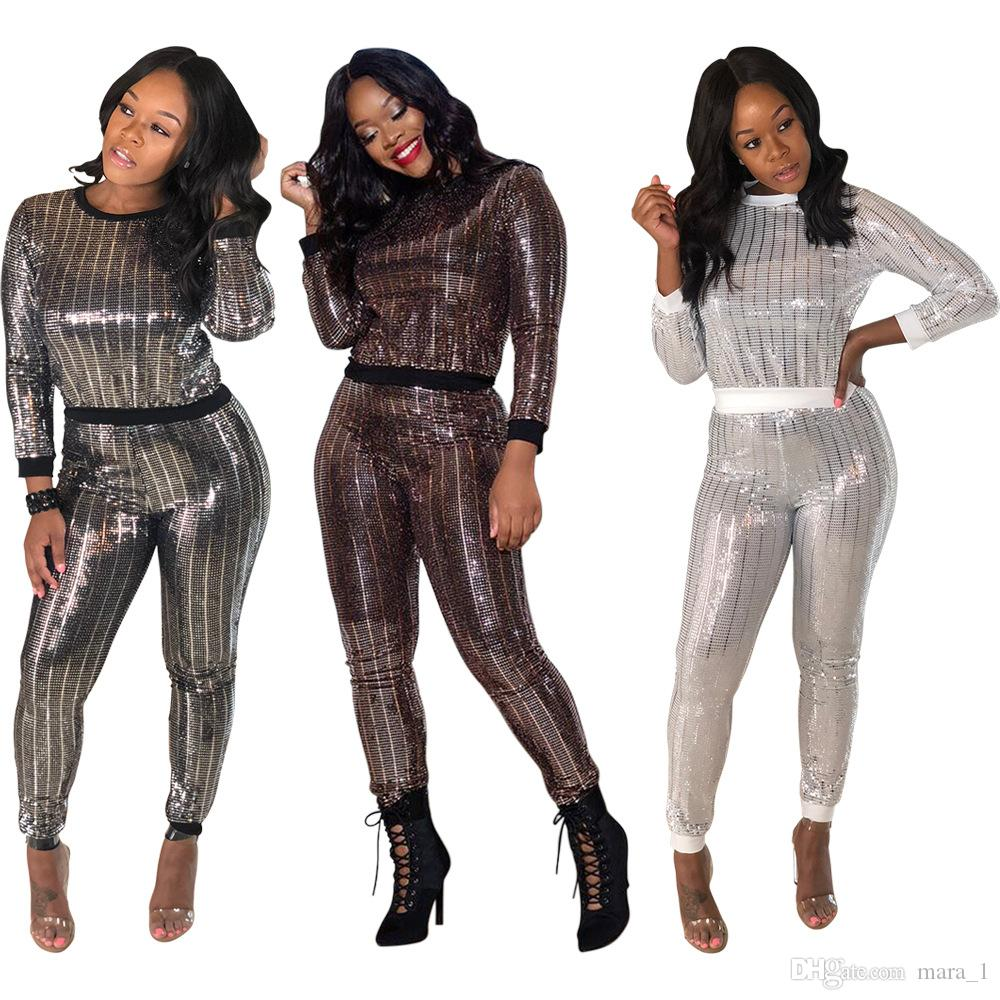0a59e04bf7e9 2019 Sequins Women Tracksuit Glitter Hoodie Leggings Two Piece Set Long  Sleeve Sweatshirt Tights Outfits Outerwear Pants Women Fall Clothes DHL  From Mara_1, ...