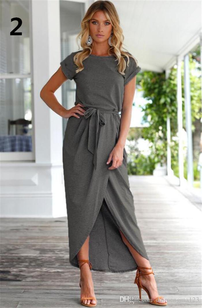 Printemps Mode Élégante Robe Plus La Taille Femmes Vêtements Casual Manches courtes O-Cou Bleu Robe Lâche Split Irrégulière Robe M180