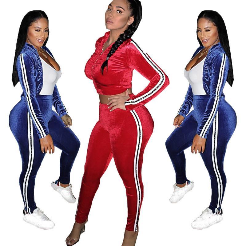 31f6ab13cc Sexy Workout Velvet Tracksuit Women Sweat Suits Crop Jacket Pants Velour 2  Piece Sets Jogging Casual Sportswear Ropa De Deporte