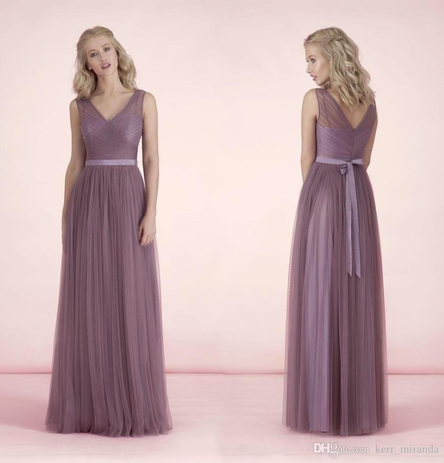 newest 92139 b7d08 Nuovi abiti lunghi da damigella d onore scollo a V tulle puro con telai  damigelle abiti lunghezza del pavimento lilla per abiti da ballo formale ...