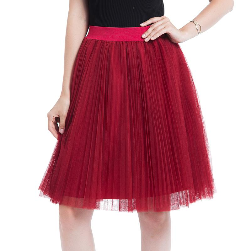 b2020986d7 4 Layer Voile Tulle Skirts Womens 2019 Spring Summer Elastic High Waist  Pleated Midi Tutu Skirt Jupe Longue Femme Online with $33.11/Piece on  Feeling08's ...