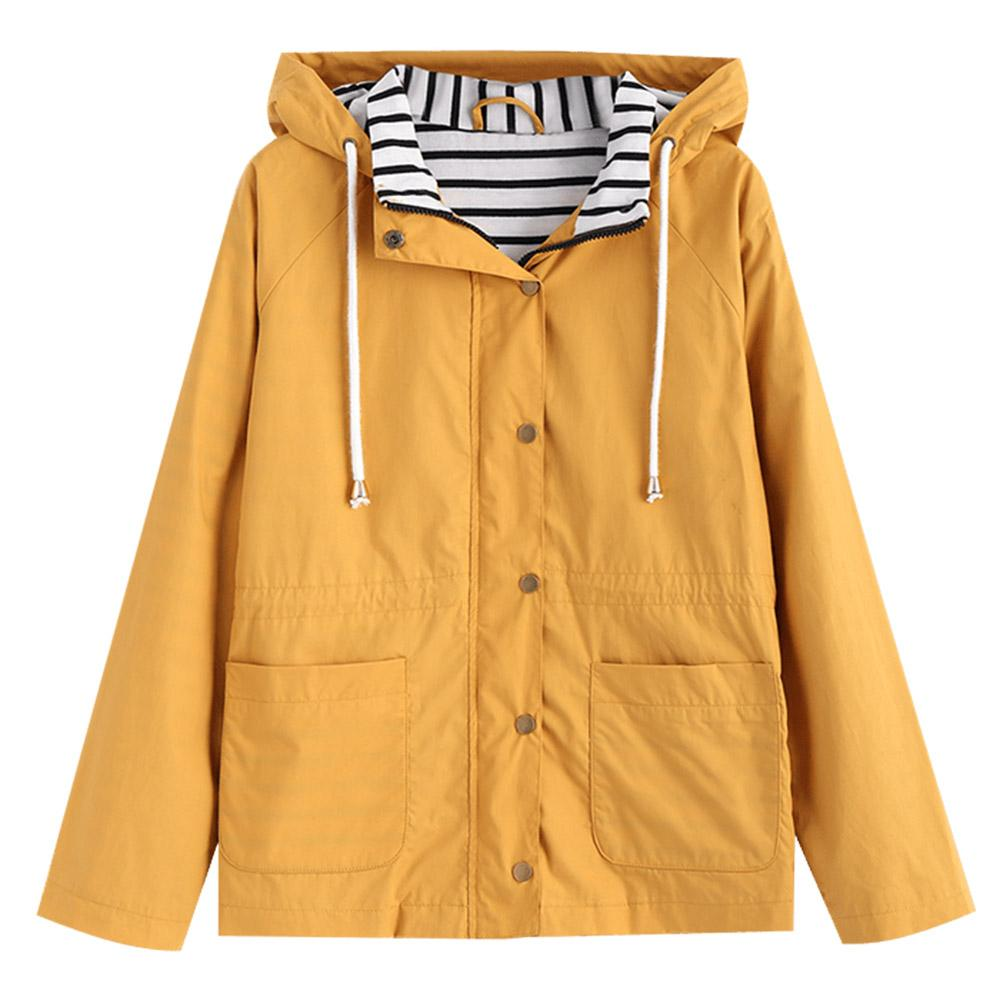 d816e66e5 Wipalo New Autumn Coat Women Hooded Jacket Trendy Snap Button Stripes Panel  Wide-Waisted Jackets Womens Casual Coats Outerwear