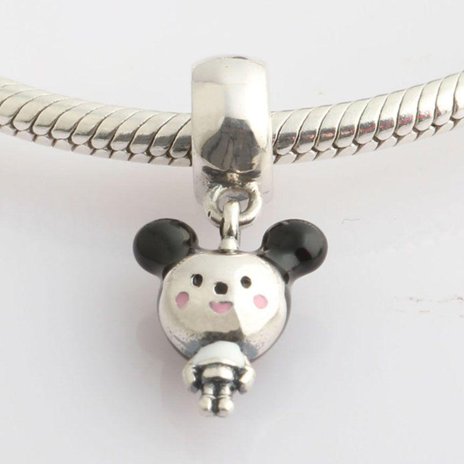 2018 New Authentic 925 Sterling Silver Beads Mixed Enamel Boy Cartoon Mouse Pendant Charm Fit Original Pandora Bracelet Bangle DIY Jewelry