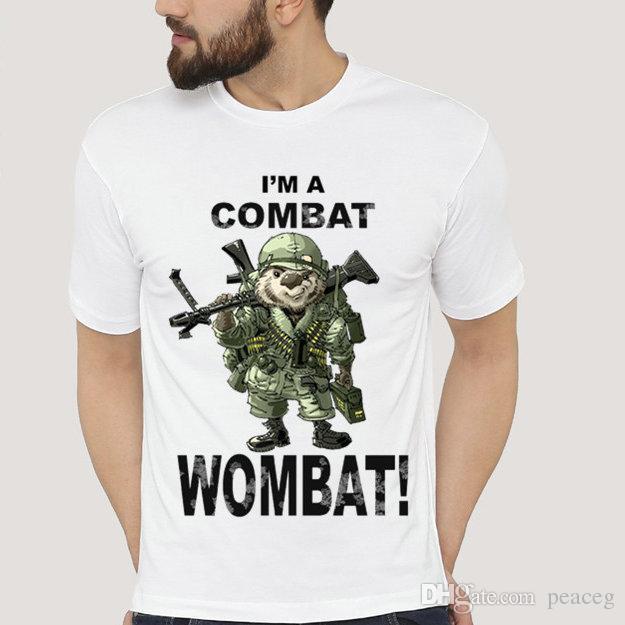 862107597f0ce Wombat t shirt Chunky combat short sleeve Lazy animal tees Leisure unisex  clothing Pure color modal Tshirt