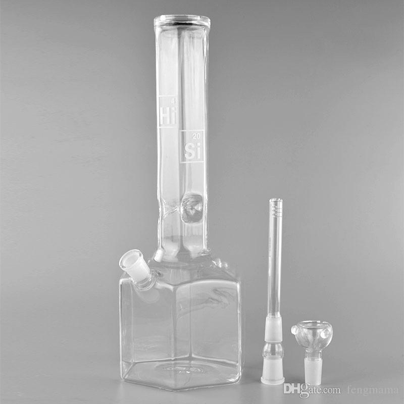 Hi Si BONGS! Glass Water Pipes Bongs 15 inches Tall Hexagon 18mm Female Joint Glass Pipes comes with Downstem
