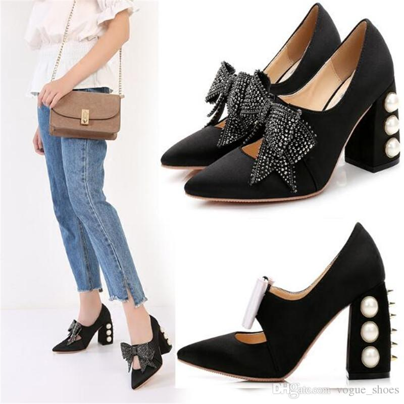 7e0f4423c8b4d New Collection Pointed Toe Shoes Woman Pearl Decor Thick Heel High Heels  Pump Black Slik Leather Rhinestone Bow Tie Ladies Shoes Brown Dress Shoes  Leather ...