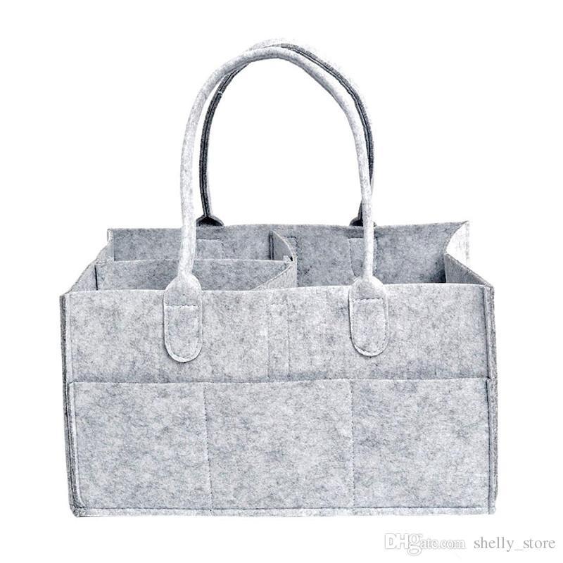 حفاضات الطفل حضانة العلبة الرمادية حفاضات حمل بن تخزين متعددة الوظائف حقيبة كبيرة المحمولة السفر المنظم شعرت سلة حقيبة