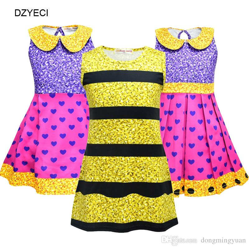 332ebe475b2f Halloween Cosplay Costume For Baby Girl Dress Lol Doll Kid Striped Heart Party  Princess Frock Children Boutique Disguise Up Dresses Lol Doll Dress For Baby  ...