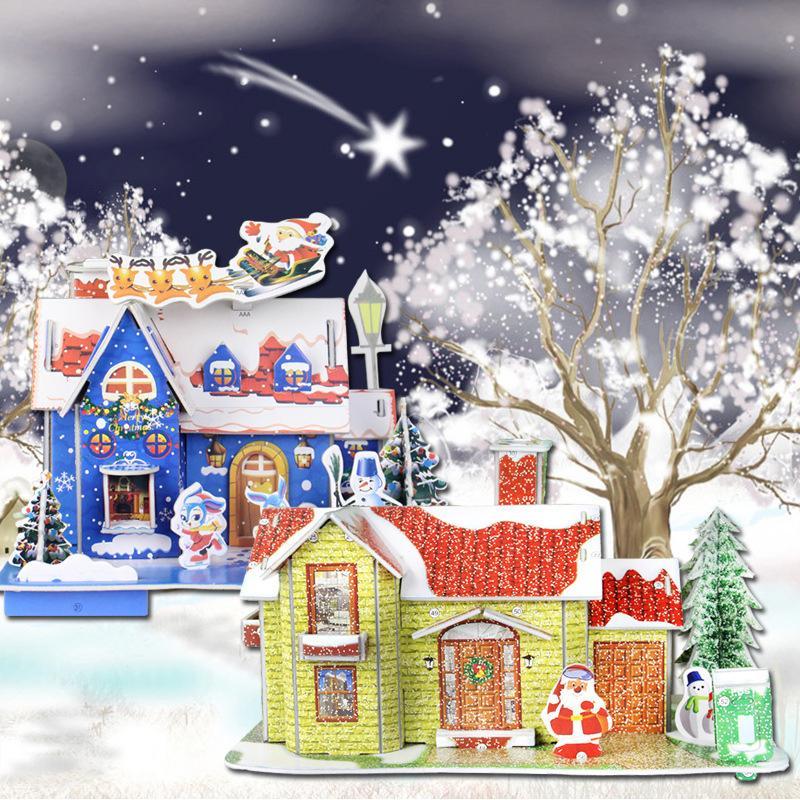 Frohe Weihnachten 3d.Frohe Weihnachten Diy 3d Puzzle Spardose Neujahr Cartoon Haus Puzzle Weihnachtsschmuck Für Home Noel Weihnachtsgeschenke Für Kinder