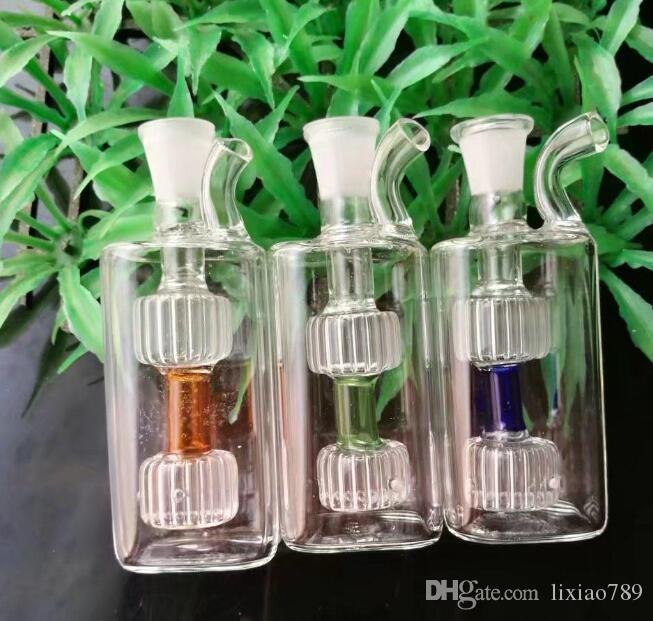 Nuevos 2 potes redondos, bongs de vidrio al por mayor Quemador de aceite Tubos de vidrio Tubos de agua Plataformas de aceite que fuman envío libre S54345