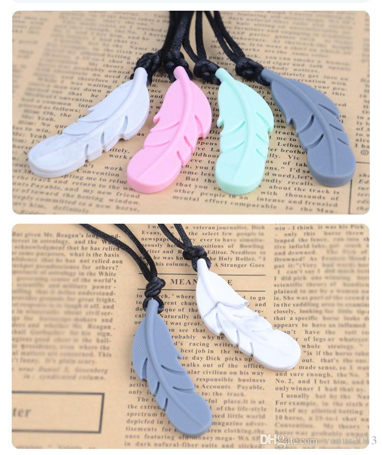 Fashionable Food Silicone Feather Beads Silicone Feather Teether Necklace With Strap DIY teething jewelry bracelets Pendant Baby new