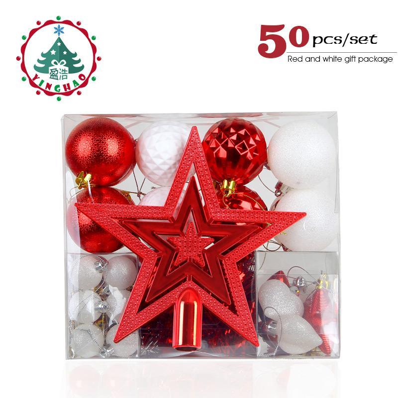 Inhoo Red White Christmas Balls Gift Box Plastic Xmas Baubles