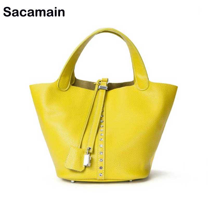 e2f2b114bd8 Women White Bags New Leather Diamonds Handbags Bucket Casual Luxury Handbag  Fashion Yellow Bag Bolsas Femininas Sac Shopper Bag Online with   120.63 Piece on ...