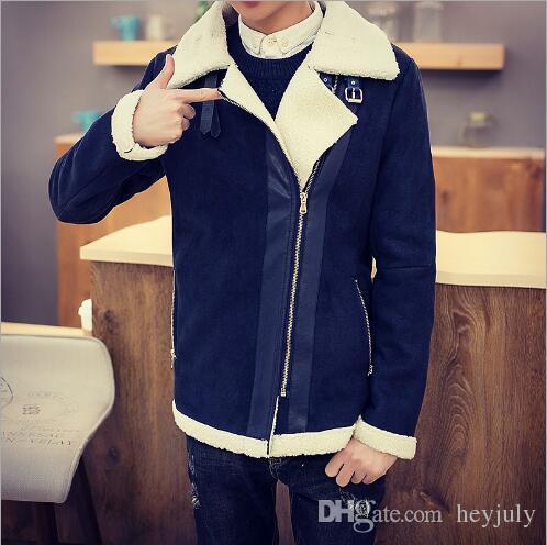 Brand designer - Fall-Shearling Winter Coat Faux Fur Suede Jacket Sid Zip Lamb Wool Mens Sheepskin Coat