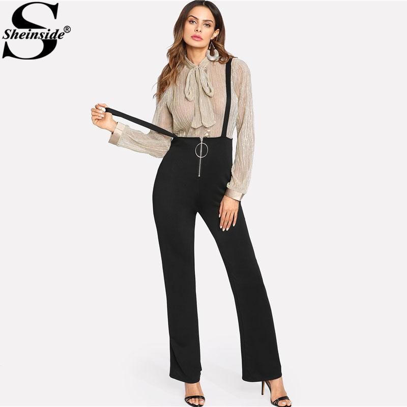 ebee2b49851 2019 Sheinside Black O Ring Zip Front Overalls Jumpsuit 2018 Spring Straps  Sleeveless OL Work Long Pants Women Elegant Jumpsuit Y1891807 From  Zhengrui07