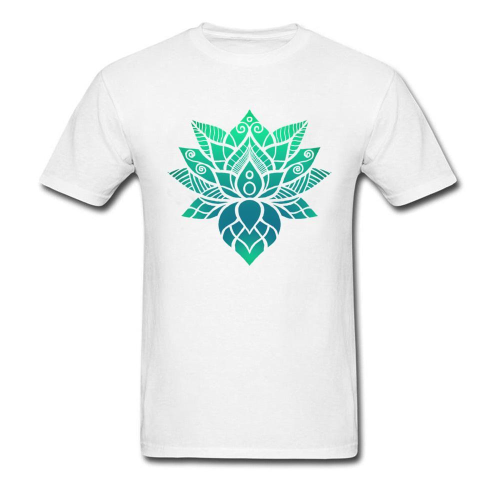 Leisure T Shirt Prevailing O Neck Lotus Flower Ornament 100 Cotton