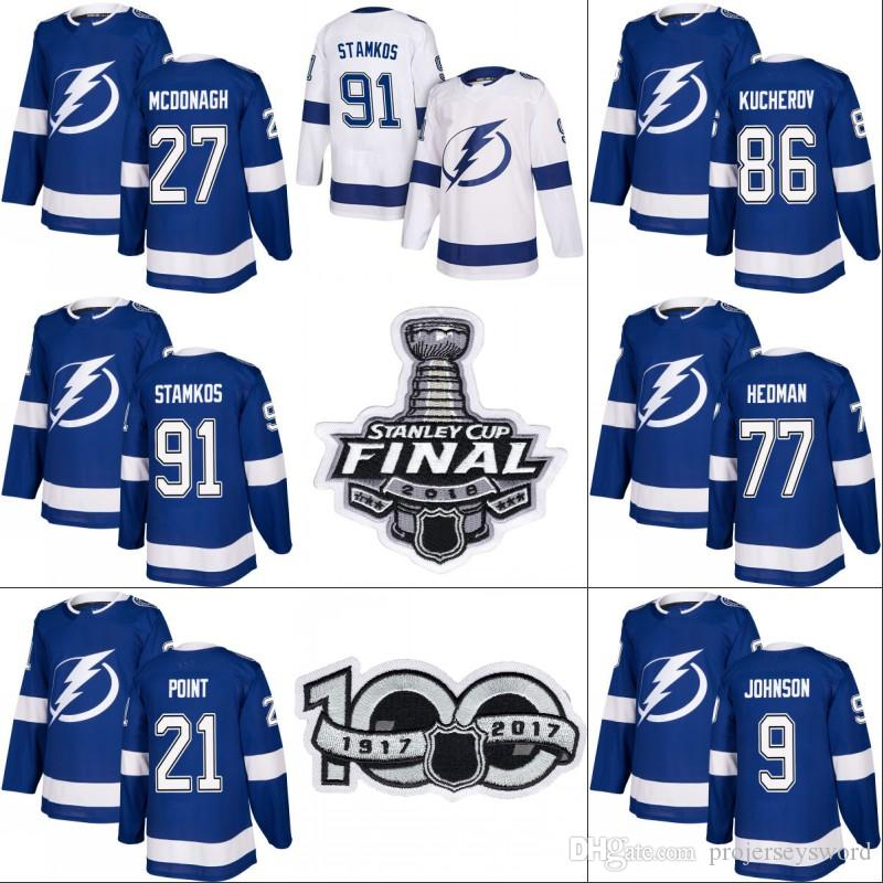 Tampa Bay Lightning 2018 Stanley Cup Final Jersey 9 Tyler Johnson 27 ... 3923d2481