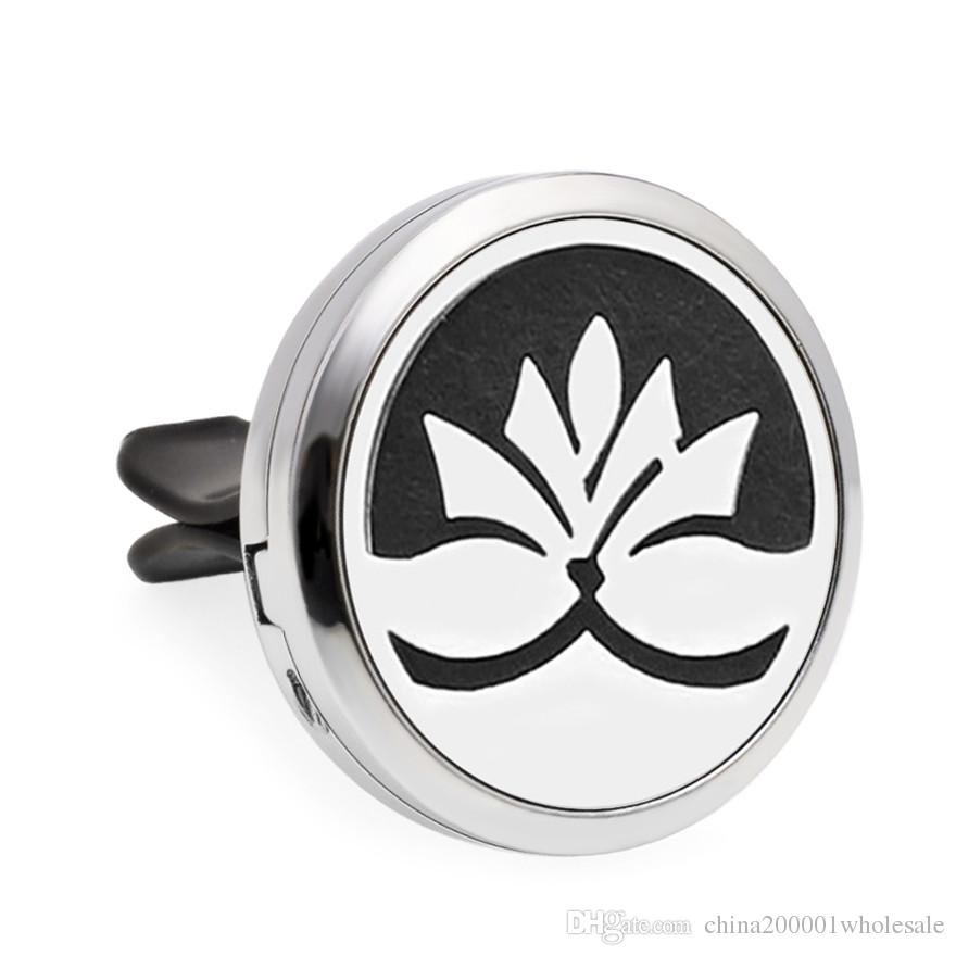 New arrival Car Air Freshener 30mm Essential Oil Perfume Car Locket Diffuser vent clip 10p free oil pads