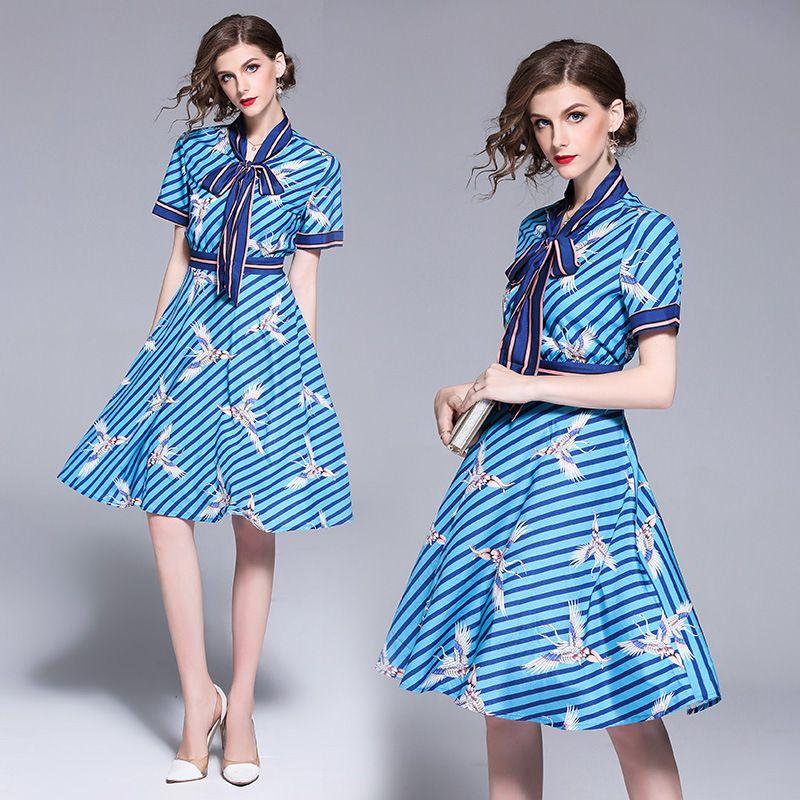 bf116fe775561 Girls Casual Dress Summer Party Dress Bow Collar Striped Crane Print ...