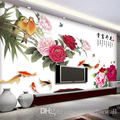 النمط الصيني تزهر الفاوانيا غرفة المعيشة التلفزيون نوم خلفية ديكور للجدران المشارك الفن ثروات الثروة اقتباس الحائط الجرافيك الوشم