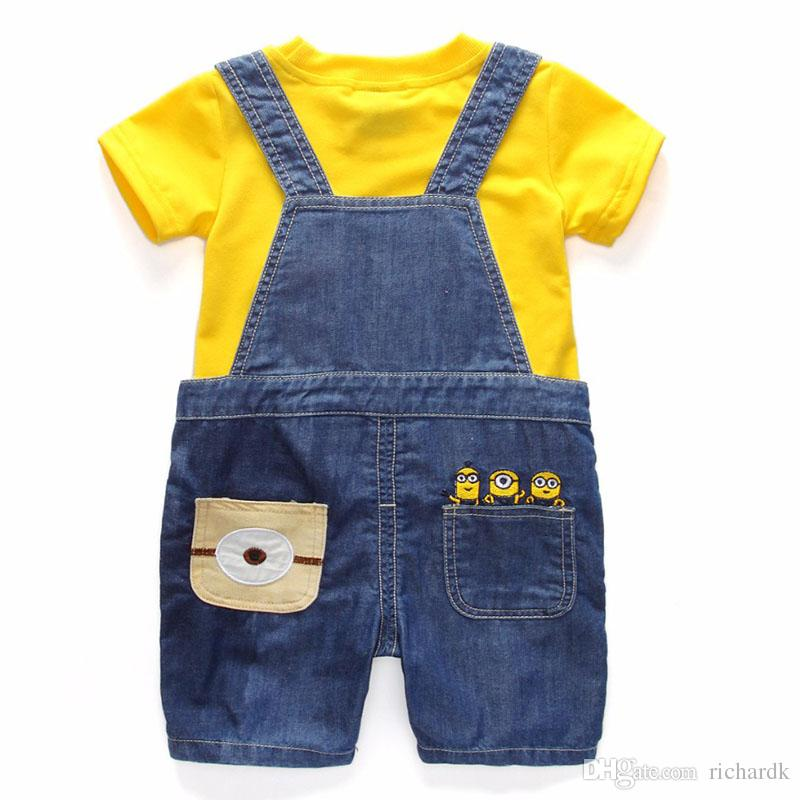 Boys Girls Set Childrens Denim Shorts/Longs Suit Kids Clothes T Shirt And Minions Clothing 1-6 Years