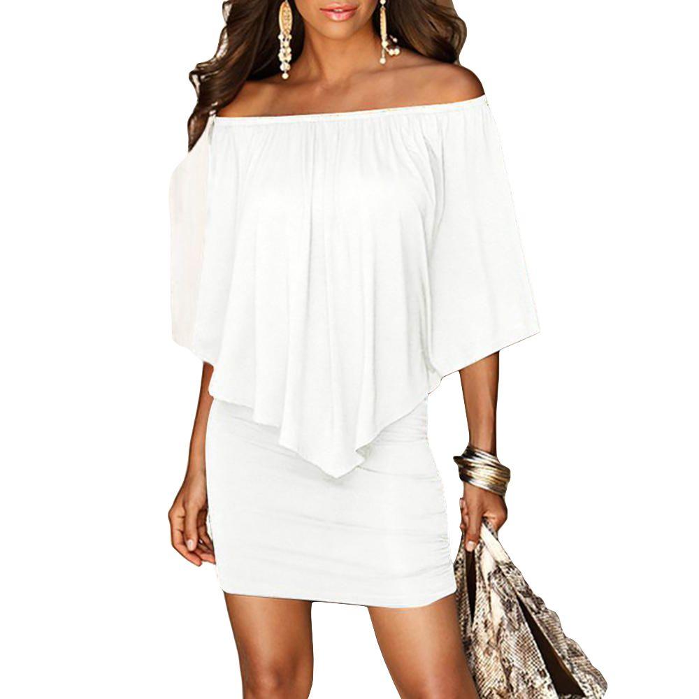 2c37d612c1ff Army Green Slash Neck Women Mini Dress Summer Style Off Shoulder Sexy  Dresses Vestidos Black White Beach Casual Dress Casual Dress Chiffon Dresses  From ...