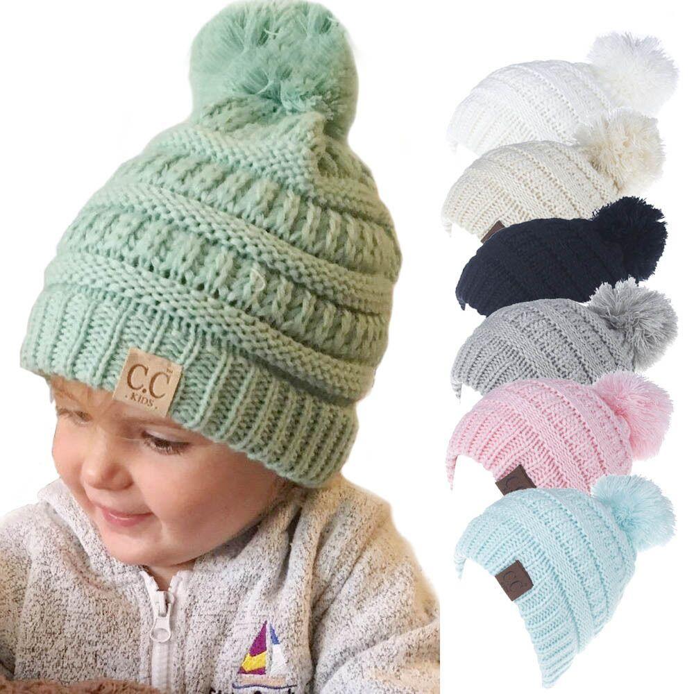 Kinder CC Beanie Gestrickte Pom Pom Hüte Kinder Hüte Baby Mädchen Wintermütze Kleinkind Warme Skullies Mützen
