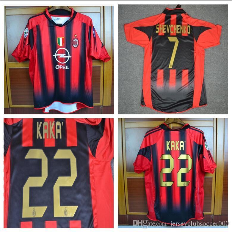 2fed805942 Acquista Maglia Da Calcio Retro 05 05 Milan Home Jersey UCL Versione KAKA  Shevchenko Pirlo Maldini Inzaghi Nesta Maglia 2004 2005 A  32.45 Dal ...
