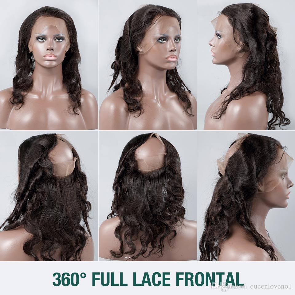 Ön Koparıp Tam 360 Frontal + 2 demetleri Ile Brezilyalı Bakire Saç Kapatma Ile 360 Frontal Demetleri Bodywave Bakire Saç