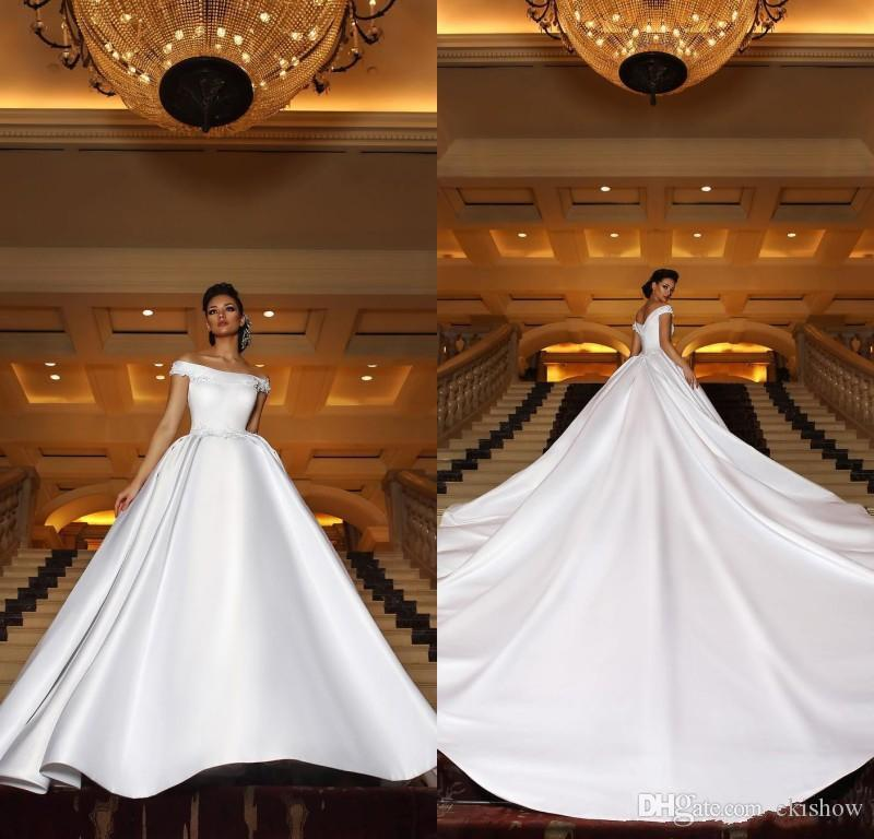 69349b7e845 Discount Arabic 2019 New Gorgeous Satin Off The Shoulder Wedding Dresses  Long Train Lace Appliques Plus Size Bridal Gowns Dresses Custom Made  Backless ...