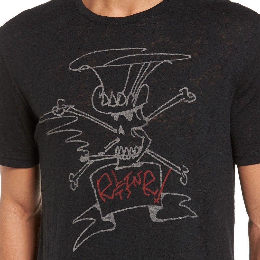 12066e79f John Varvatos Star USA Men's Short Sleeve SLASH Sketch Black Crew T-Shirt  NWT