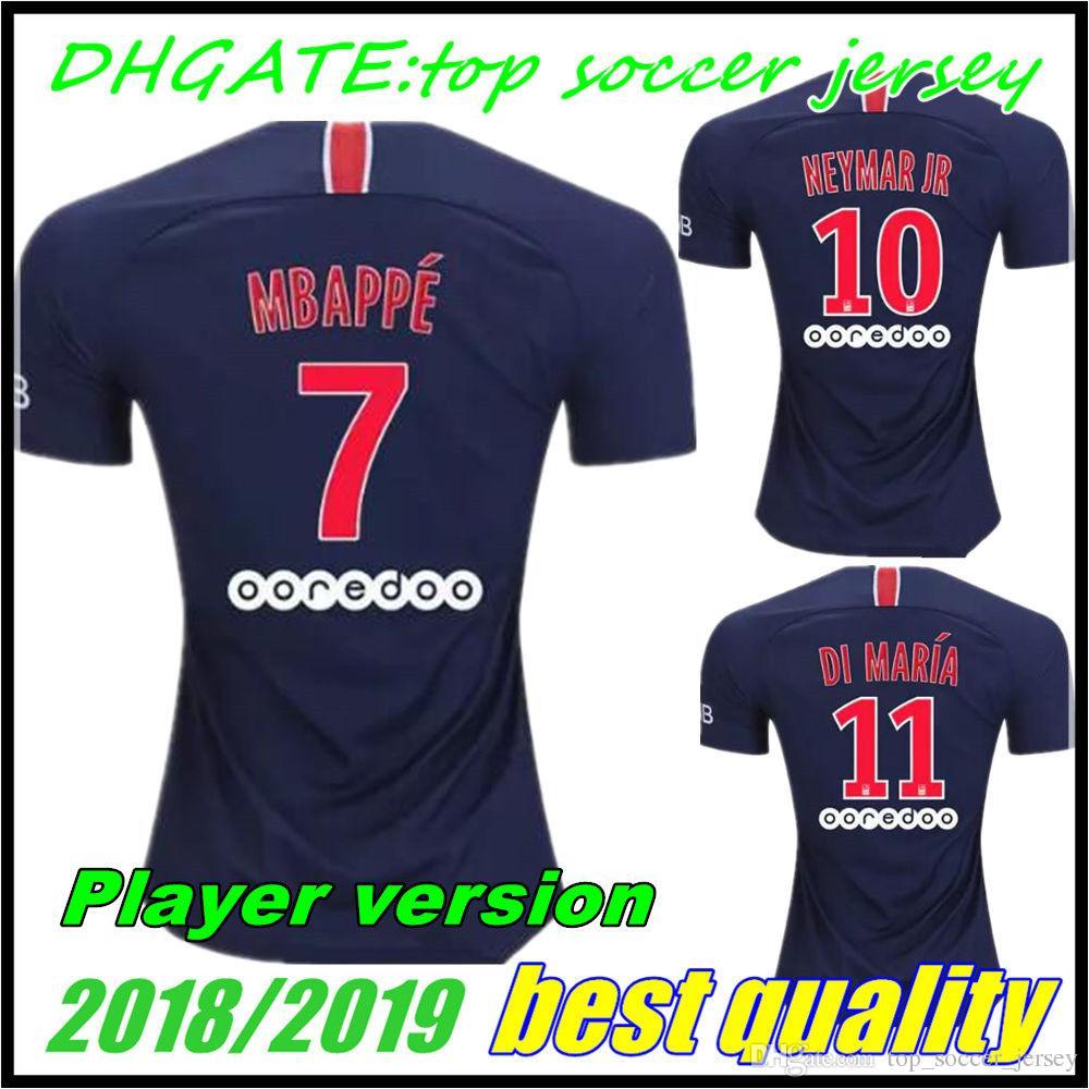 8153096592bc8 Versión Del Jugador PSG 18 19 Mbappe Match Camiseta De Fútbol 2018 Mbappe  CAVANI PASTORE DRAXLER Paris Camiseta De Fútbol Survetement Maillot De Foot  Por ...