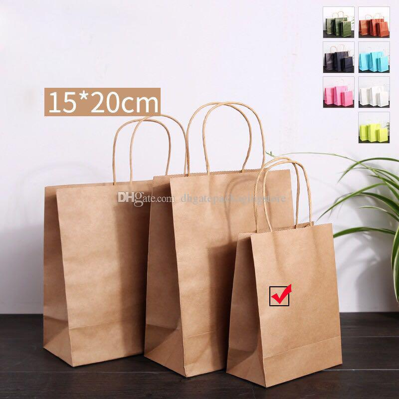 3 Size Kraft Paper Gift Bag With Handle Fashion Mechandise Shopping